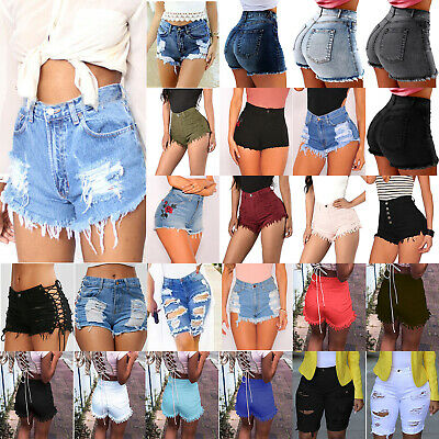 Women High Waist Ripped Mini Denim Jeans Summer Stretch Trouser Shorts Hot Pants