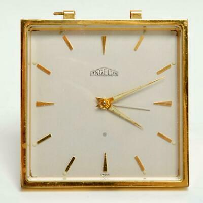 Vintage Mid Century Angelus Swiss 8 Day Alarm Clock 15 Jewels