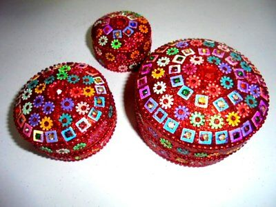 Set of 3 Trinket Boxes Jewelry Home Decor Handicraft Gift SOUVENIR Christmas
