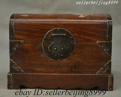 China Huali Wood Inlay Shell Carved Auspicious Wealth lucky Storage Jewelry Box