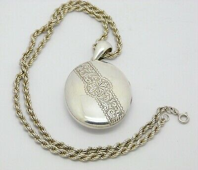 LARGE RARE ANTIQUE SOLID SILVER LOCKET & CHAIN c1900 - CHOICE OF 1 OF 3 CHAINS
