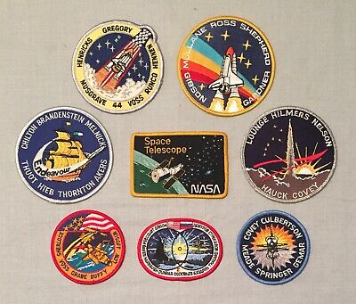 NASA PATCHES LOT of 8 Space Program & Shuttle STS Mission Hubble Telescope ++
