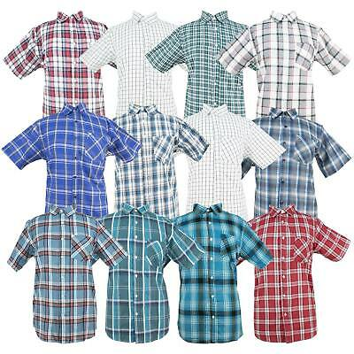 Mens Short Sleeve Checked Striped Casual Summer Oxford Shirts Classic Collar