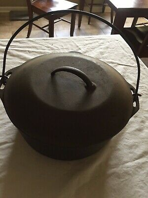 Vintage  8  Cast Iron Dutch Oven Campfire Pot With Self Basting Lid 10 1/4