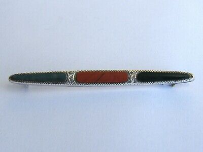Antique-Good Sized Victorian Solid Silver Scottish Pebble Bar Brooch-c1890