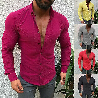 Luxury Men's Slim Fit Lapel Shirt Long Sleeve Stylish Formal Casual T-Shirt Tops