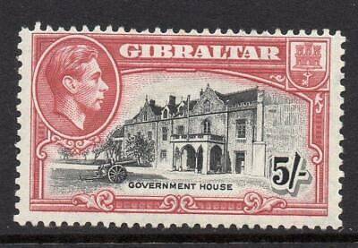 GIBRALTAR 1944   5/-  Perf 13 SG 129b  M.Mint with Gum Excellent Looking