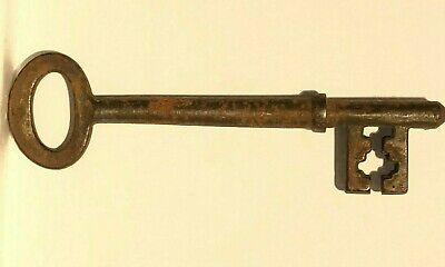 Antique Key Wrought Iron ward lock key 4.8 inches Church old house door