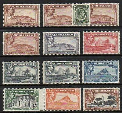 GIBRALTAR  1938-51 13 Diff;  M.Mint with Gum Excellent Looking  No Hidden Faults