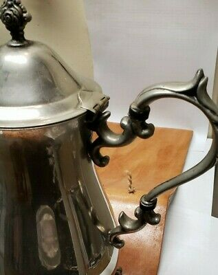 Elegant Vintage English Silver Mfg. Corp. Tall Teapot, Made in USA
