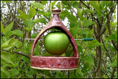 ♡ Handmade Ceramic Hanging Seeds Apple Nuts Bird Feeder - Gardeners Gift ♡