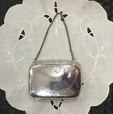 👛Sweet Antique Edwardian Sterling Silver CALLING CARD PURSE/Case👛 Lovely Chain