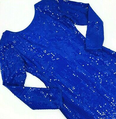 VTG 70s 80s Blue Sequin Disco Shift Dress Sz 10 Stretch Bodycon long sleeve