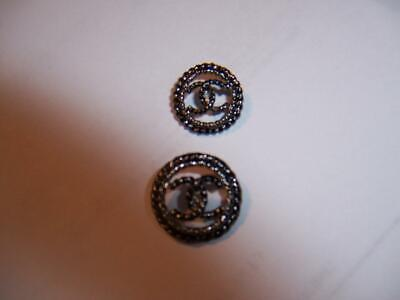 Chanel Cc Logo Black Metal Twisted Rope Cardigan Buttons & Thread 2 Buttons