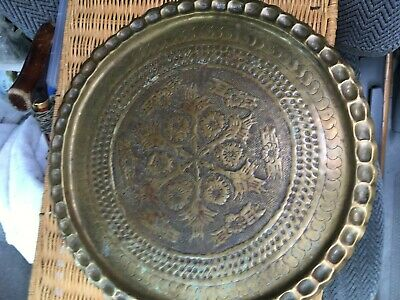 Vintage Floral Brass Wall Plate Serving Charger Tray Asian Indian Round Large