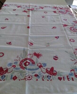 Vtg 1950s Mexican Theme Tablecloth/Topper Mexcan Hats/Pottery/Palm Trees 48 x 48