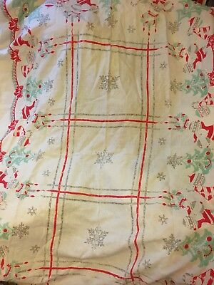 "Vintage Large 1950s Christmas Tablecloth Father Christmas Trees & Angels 58""x86"""