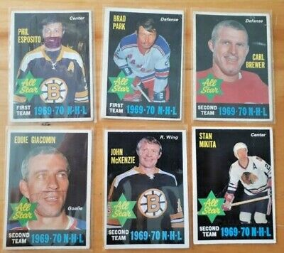 LOT of 6 1970-71 OPC ALL STAR HOCKEY CARDS, High Numbers, Eposito, Mikita, etc: