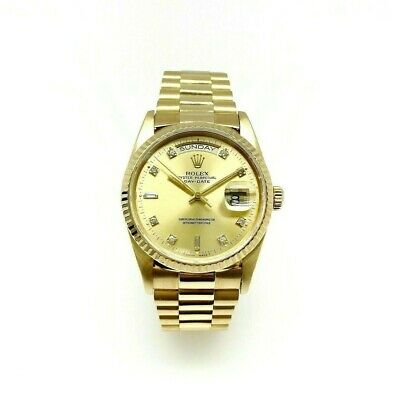 Rolex Day Date President 18K Yellow Gold Factory Diamond Dial Ref 18238 N Serial