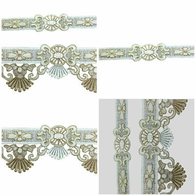 2 Yards 3D Embroidery Ribbon Gold Flower Lace Trim DIY Sewing Hand Craft Vintage