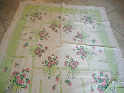 Vintage Tablecloth with Berries & Bows