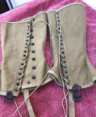 057ee6d8663c3 VINTAGE SET 1942 WWII US Military Green Canvas Leggings M1538 Size 3R