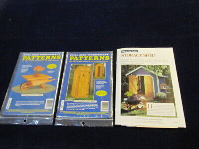 3 Woodworking Patterns Wheelbarrow Table Outhouse 2 styles Tool Storage Shed AE6