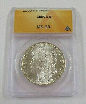 1880-S Morgan Silver Dollar ANACS MS 63 *  Early Date Coin