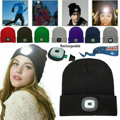 Unisex 4 LED Head Lamp Knit Beanie Hat Light Cap Camping Fishing Hunting Outdoor