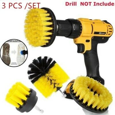 Power Scrubber Drill Brush Set Cleaner Spin Tub Shower Tile Grout Wall 3 Brushes