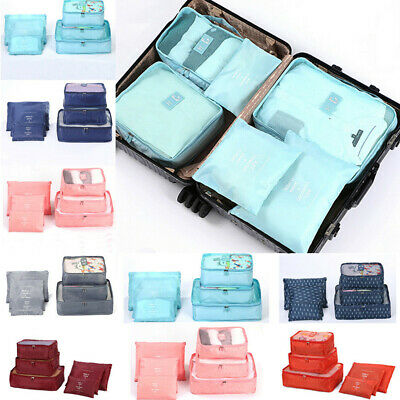 6Pcs Packing Cube Travel Pouch Luggage Organiser Clothes Suitcase Storage Bag