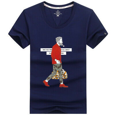 fashion personality men's T-shirt funny design cotton summer short-sleeve