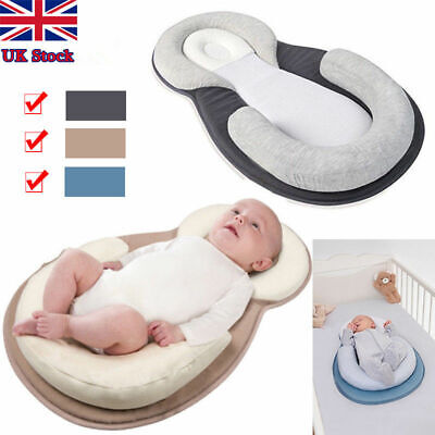 Newborn Baby Anti-Roll Head Cushion Pillow Prevent Flat Sleep Nest Pod 3 Colours