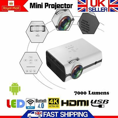 Multimedia HD WiFi Android 3D LED Home Cinema Projector 7000 Lumens UK 1080p