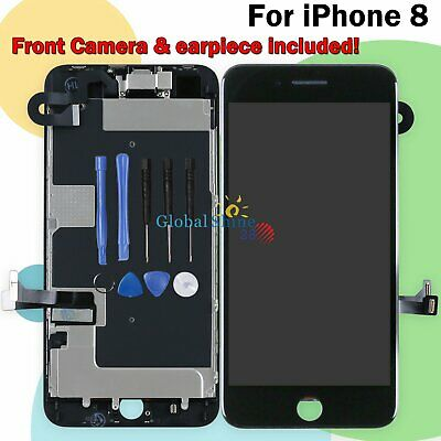 Display Replacement For iPhone 8 Black LCD Touch Screen Digitizer Frame + Camera