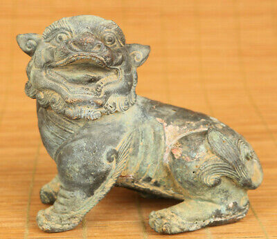 Asian old bronze Handcarved money drawing Kylin statue netsuke table decoration