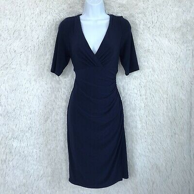 LRL Ralph Lauren Size 10 Navy Blue Stretchy Mock Wrap Ruched Dress Elbow Sleeve