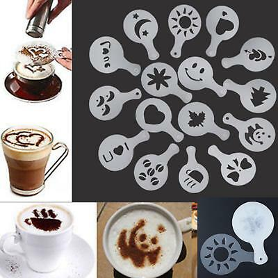16Pcs Home Barista Cappuccino Chocolate Stencil Templates Coffee Latte Duster JI
