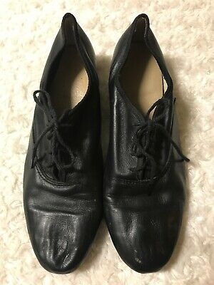 CLASSIC BLACK LACE UP MENS LEATHER TAP SHOES VGC - STEVEN STOMPERS TAPS Size 9