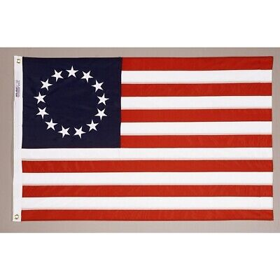 3'x5' Nylon Betsy Ross Flag -100% Made in the USA Embroidered stars sewn stripes