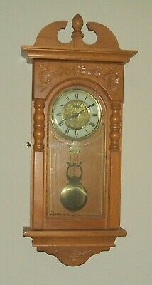 D&A Oak Wall Clock with LOUD Westminster Chimes, Applied Leaf Carvings, Pendulum