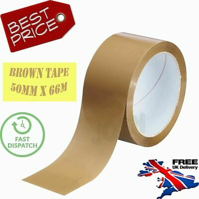 3×Strong Brown Parcel Packing Packaging Tape Sellotape Carton Sealing 48Mm X 66M