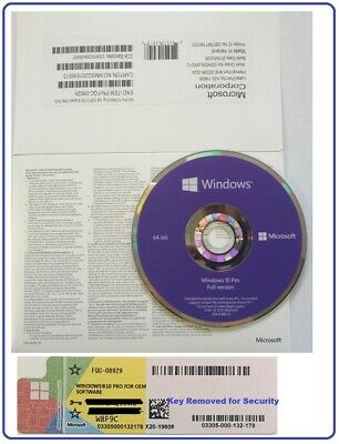 Sealed Microsoft Windows 10 Pro Professional COA & 64Bit DVD Builders OEM Pack
