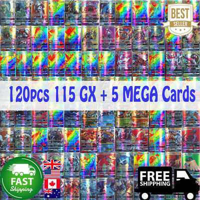 120pcs 115 GX + 5 MEGA Flash/shiny Trading Cards Bundle Mixed LOT Pokemon Cards