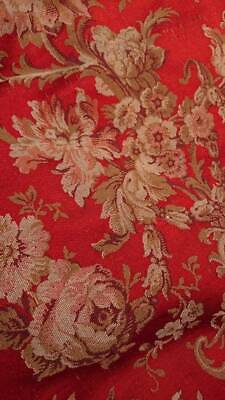 SUBLIME PR LARGE ANTIQUE FRENCH WOVEN SILK  TAPESTRY CHATEAU CURTAINS c1880