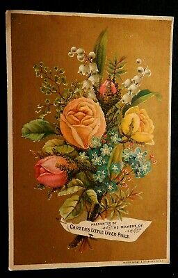 CARTERS LITTLE LIVER PILLS Trade Card E S GREGORY White Plains NY Rose Bouquet