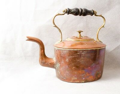 ANTIQUE 18th century GEORGIAN COPPER KITCHEN KETTLE with hand cut DOVETAILES