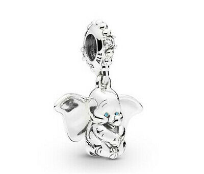 925 Silver Dumbo European Crystal Charm Pendant Beads Fit Necklace Bracelet  !!