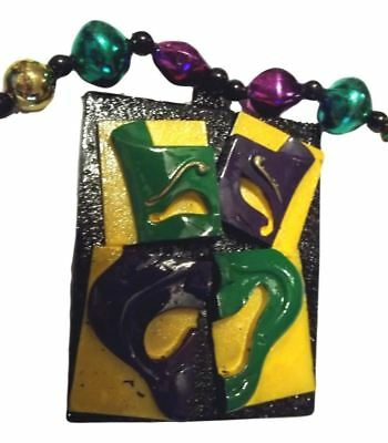 Mardi Gras Comedy Tragedy Pieces Purple Green Gold Necklace Party Favor