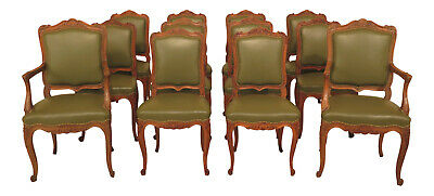L30710EC: Set Of 12 Vintage French Carved Oak Leather Dining Room Chairs